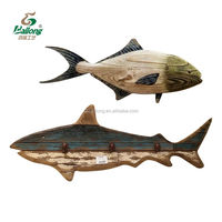 Rustic wood fish shape wood nautical crafts fishing wall decoration