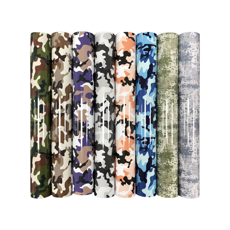Factory Wholesale  Custom Pu Camouflage Pattern Heat Transfer Vinyl  for clothing
