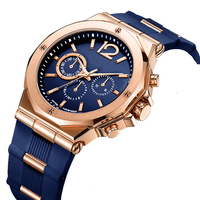 Best Selling Customized Big Blue Male Watches Luxury Stainless Steel Back Multifunction Mens Watch Sport