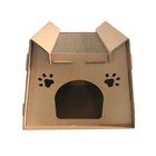 Cute design eco friendly recyclable cardboard cat scratcher house