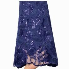 Anna blue Африканская сеть кружева французский блесток ткань 2020 высокое качество вышитый бисером нигерийский тюль кружева ткани для шитья(Китай)