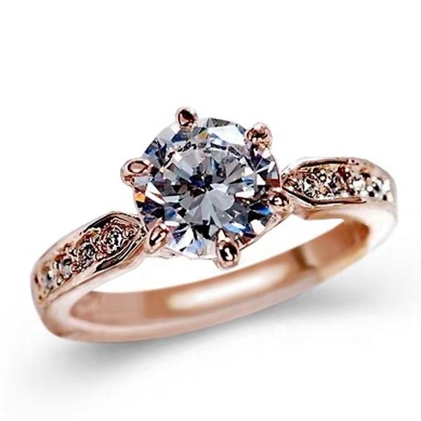 18k altın dolu takı yüzük zirkon elmas yüzük yapay taşlar