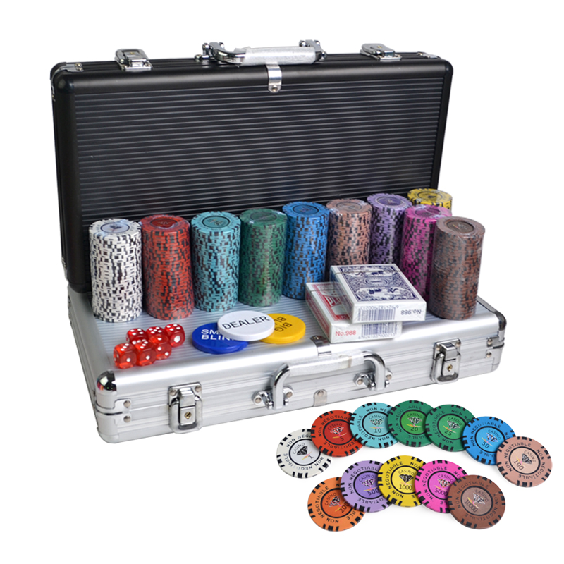 Professionele poker chips fabrikant 300 pcs dimand texas poker chips set