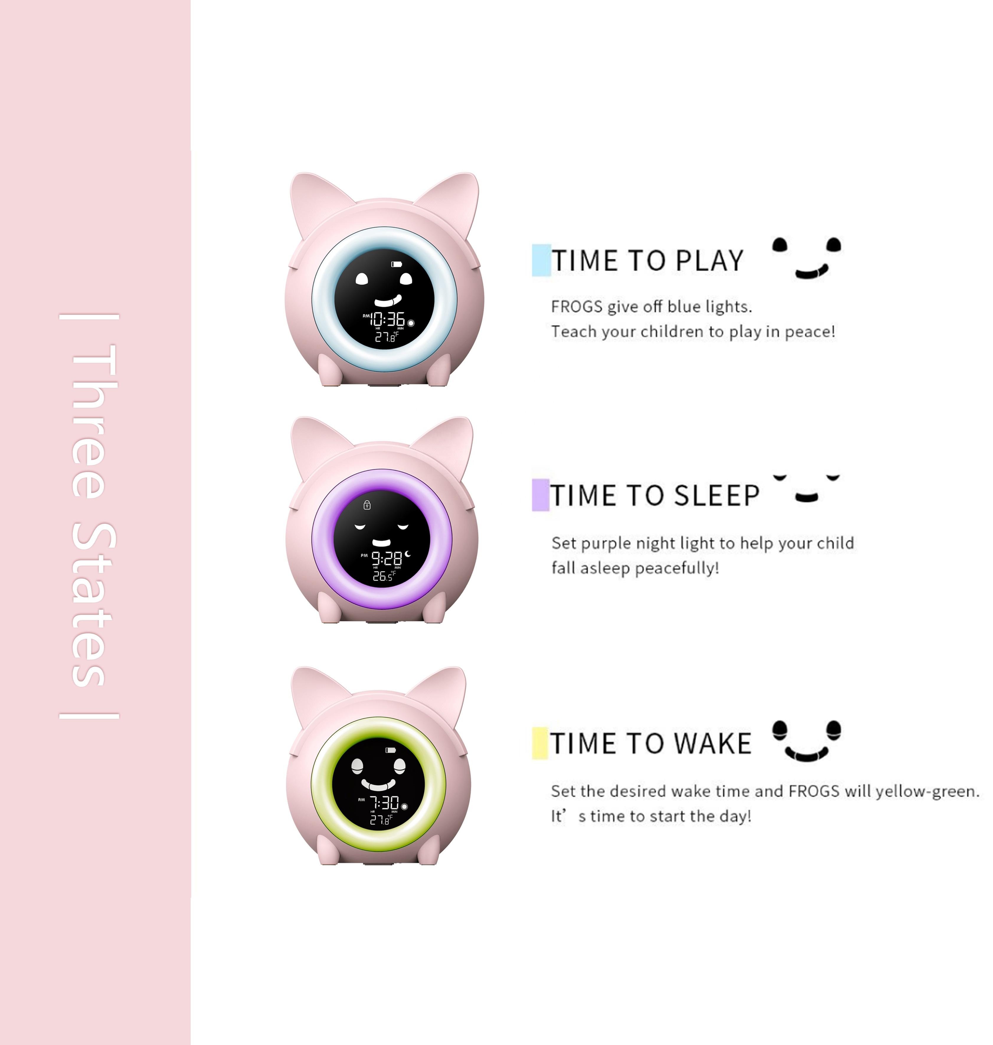KG-2715 Brightness Changing Digital Children Sleep Trainer Clock For Kids