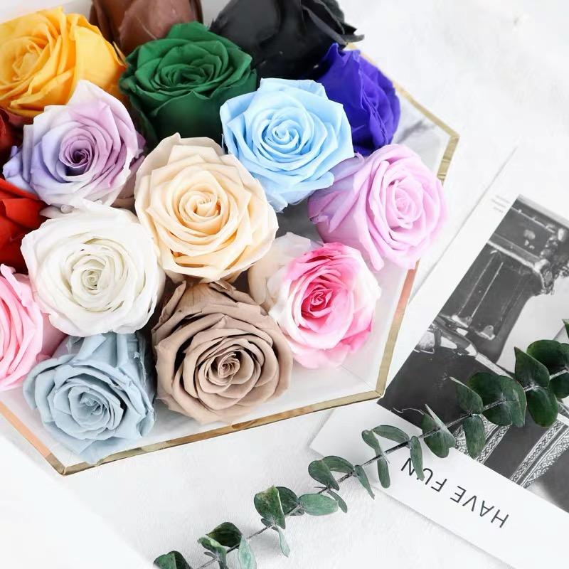 ขายส่งที่เก็บรักษาไว้ดอกกุหลาบที่ดีที่สุดคุณภาพ Size5-6cm Stabilized Eternity ดอกไม้จากจีน