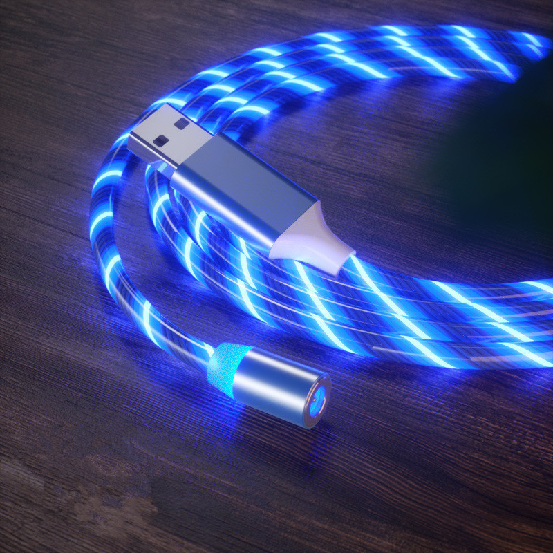 LED Mengalir USB Kabel Charger Magnetic 3 In 1 Light Up Micro USB/USB Tipe C Kabel Multi Pengisian kabel