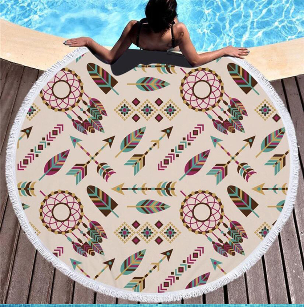King Lion Beach Towel Women Round Microfiber Printed Animal Large Bath Towel Swimming Blanket Mat
