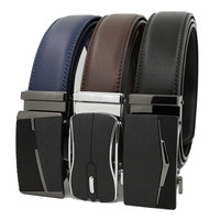 Brand custom Genuine Leather belt man's automatic belts for men cow hide can print logo ratchet belt