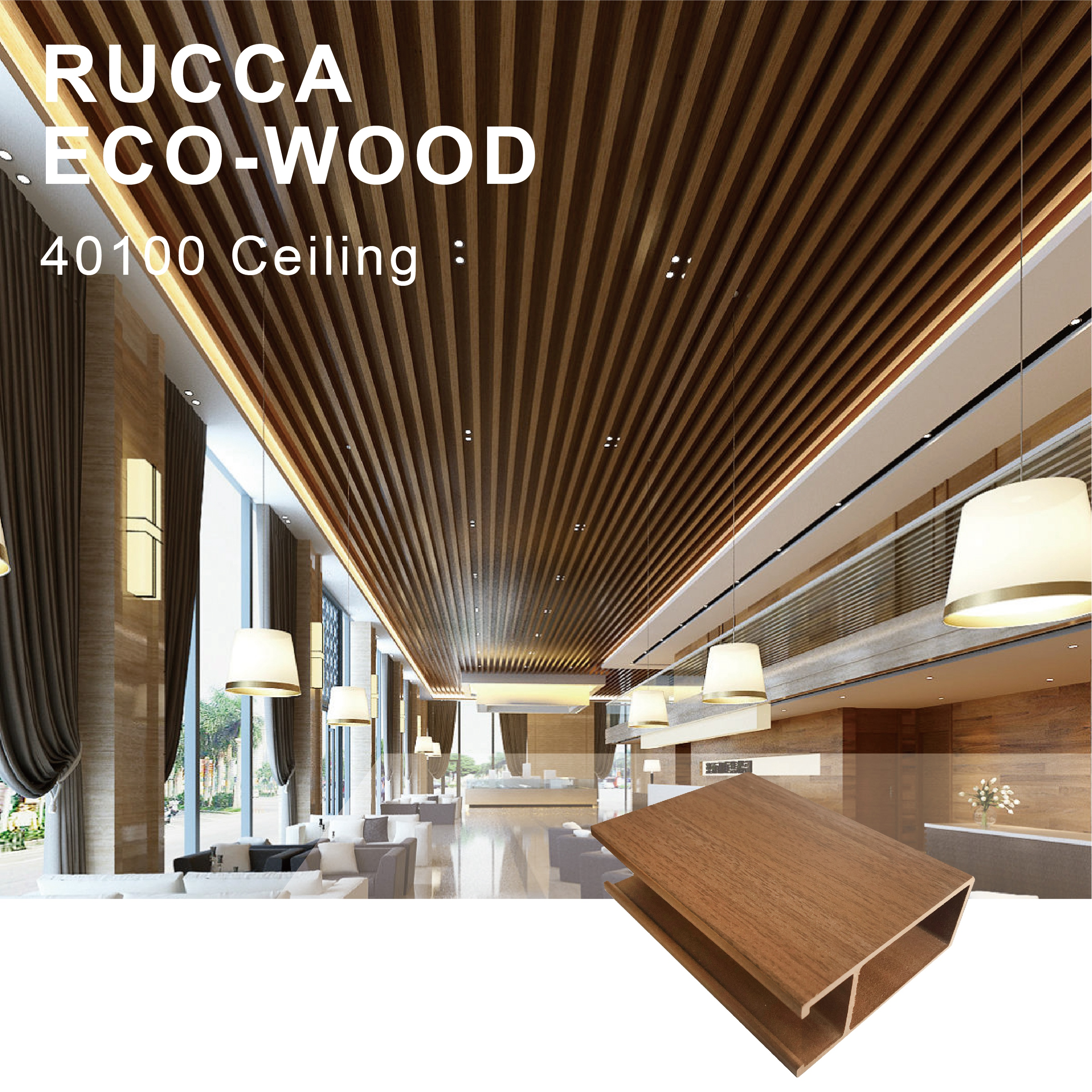 Image of: Rucca Wpc Outdoor Faux Wood Ceiling Panel False Design Decorative Plastic Ceiling Tiles 40 100mm Foshan China Buy Ceiling Outdoor Ceiling Panel Faux Wood Ceiling Panels Product On Alibaba Com