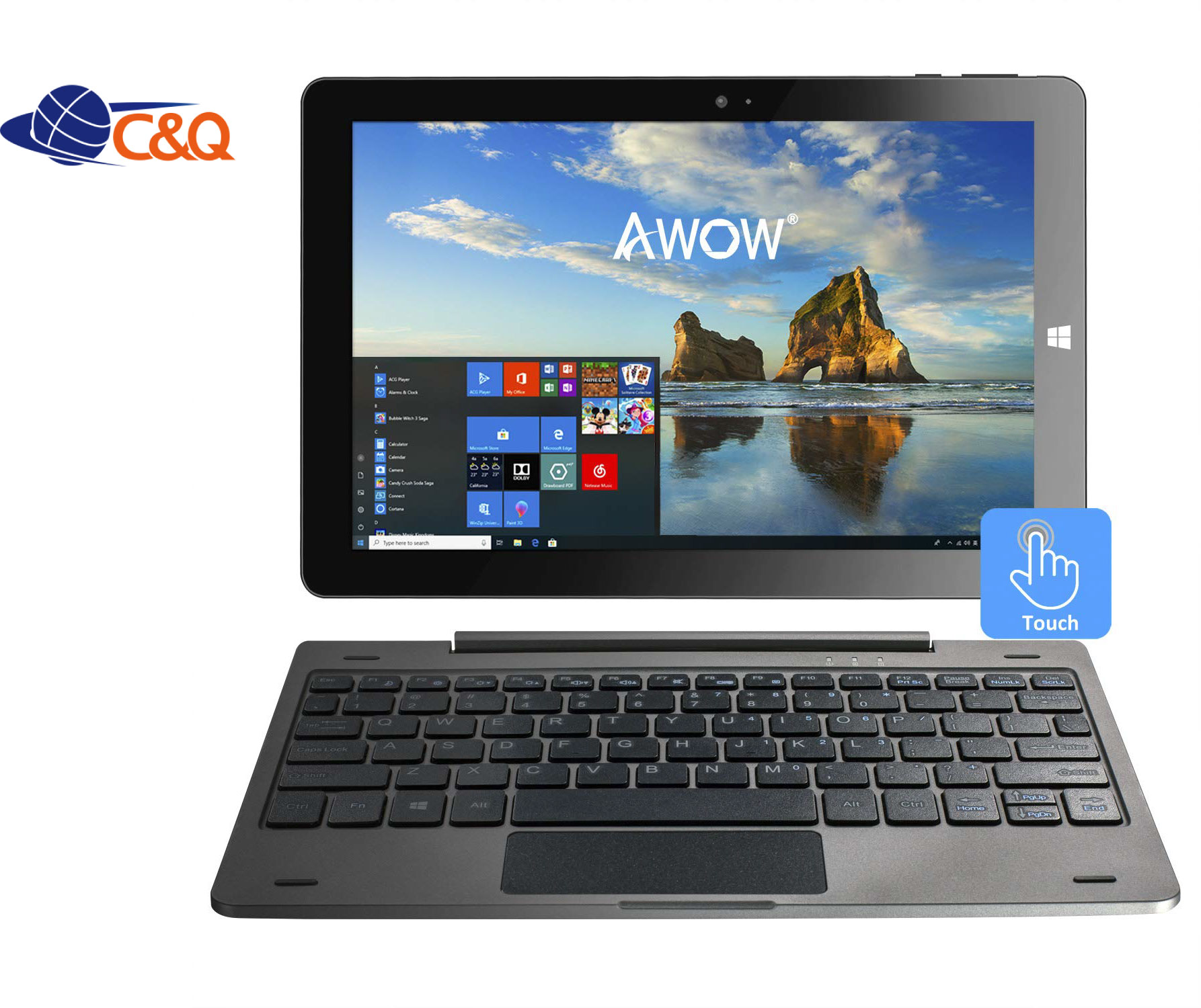 Intel Atom  z8350  quad core cpu  ram 4gb  with  keyboard ips ram 10.1 800*1280 win 10  2 in one tablet pc