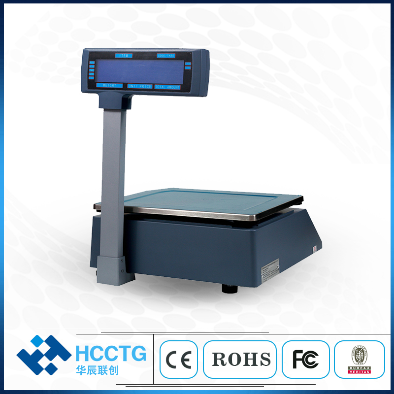 New 30KG Digital Electronic Commercial Weighing Scales With Label Barcode Printer HLS1100