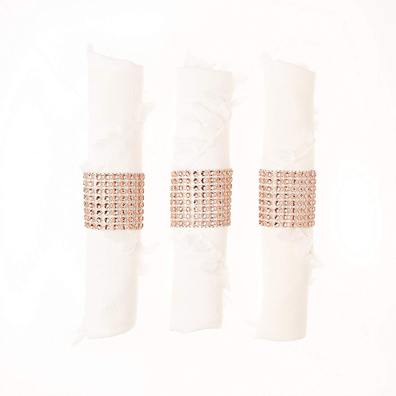 product-BEYALY-Pink And Clear Gemstone Silver Napkin Rings For Weddings-img