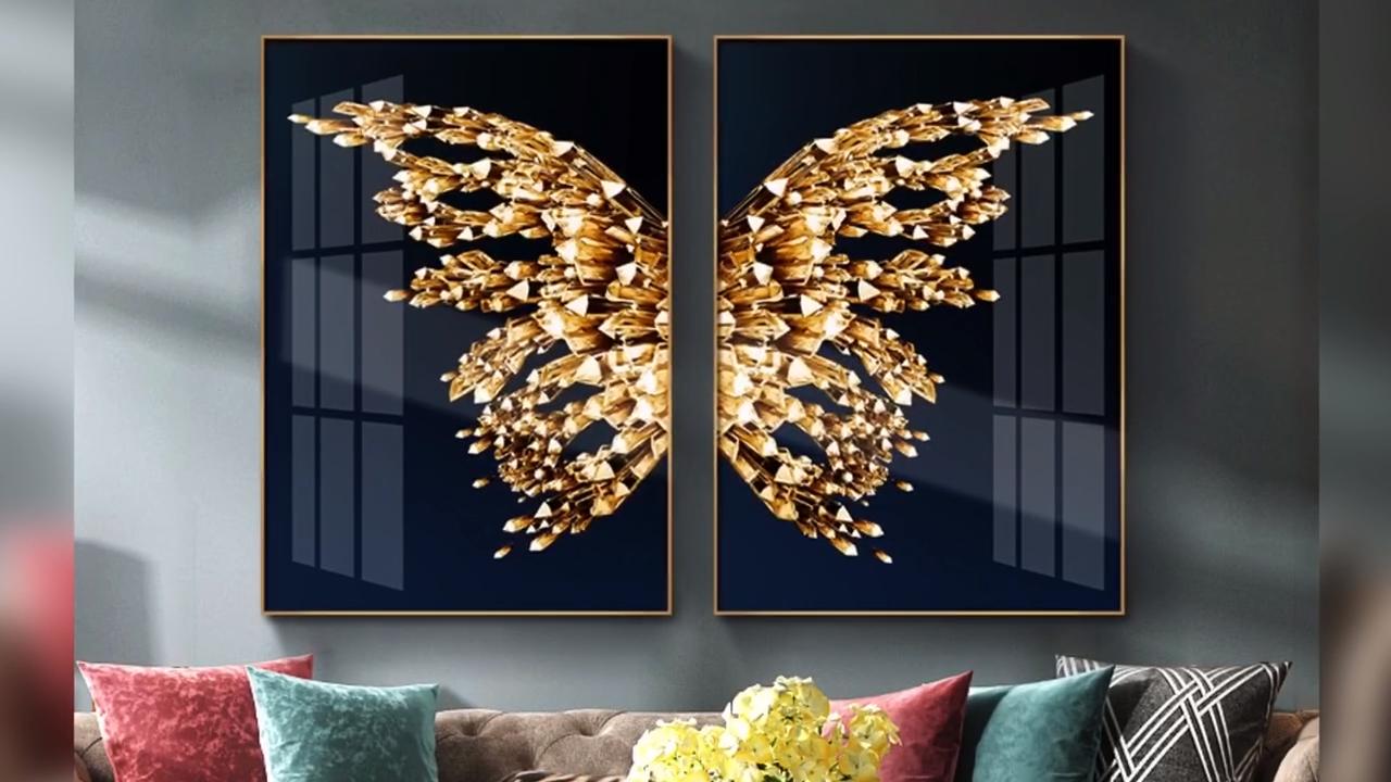 فراشة الحديثة مجردة الخزف المصنوع من الكريستال اللوحة الفنية العمل مع الألومنيوم المعدنية مؤطرة لغرفة المعيشة ديكور