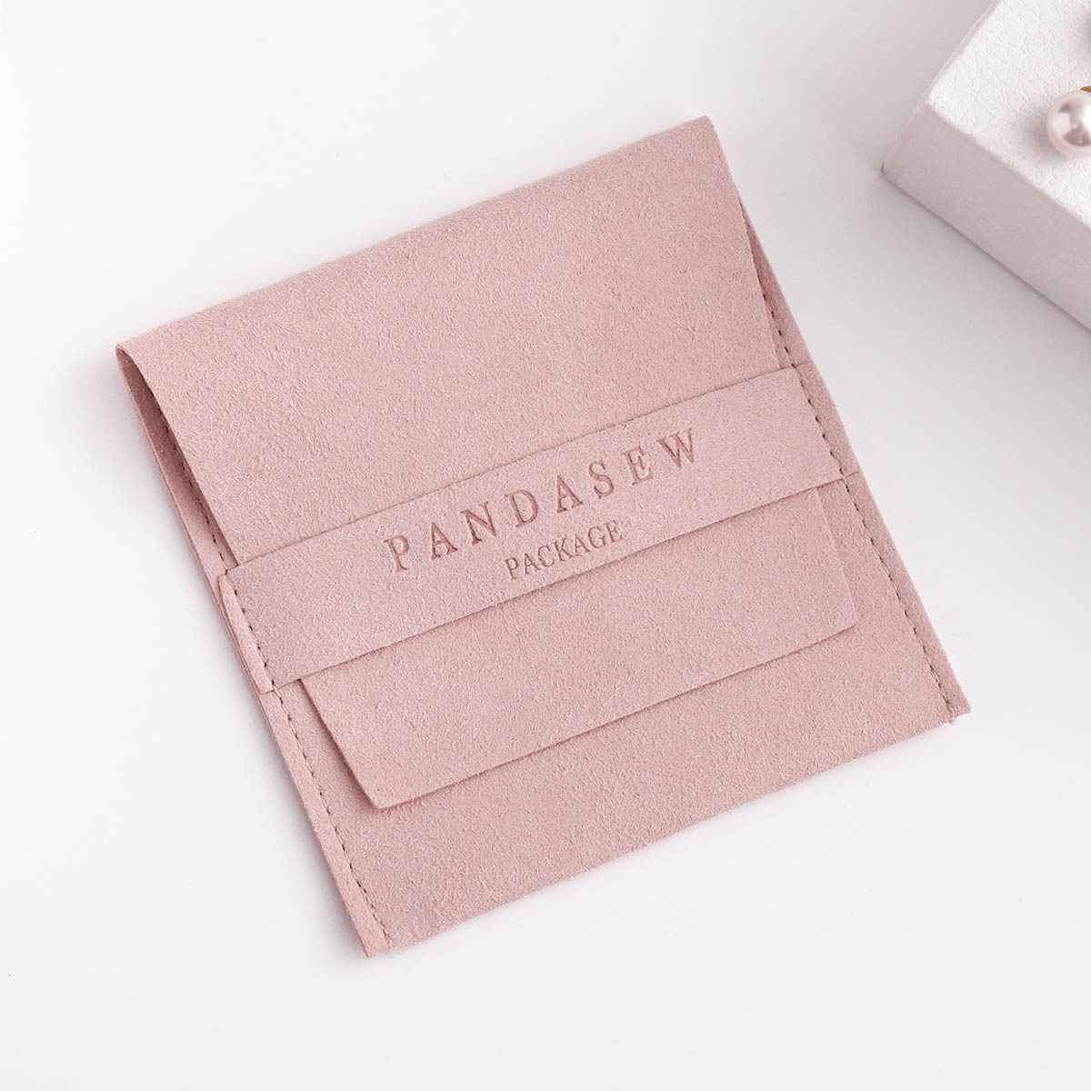 PandaSew 8x8cm Luxury Microfiber Jewelry Pouch for Fashion Earrings Necklaces Packaging Custom Logo, Customized color