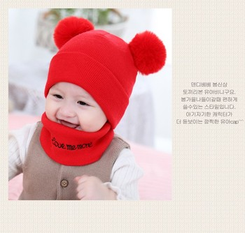 Lovely Babies Winter Warm Knitted Hats Babies Hat &Scarf Set Outdoor Activities Warm Hats for baby Candy Color NA194