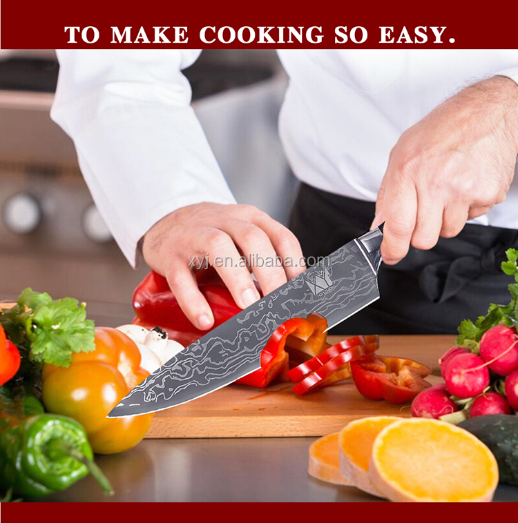 अमेज़न शीर्ष विक्रेता 2019 दमिश्क पैटर्न चाकू पाकिस्तान महाराज चाकू स्टेनलेस जर्मन स्टील के साथ 8 इंच महाराज चाकू उपहार बॉक्स