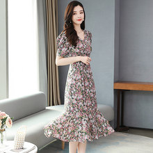 2020 летнее шифоновое пляжное платье миди высокого качества с принтом винтажного размера плюс, милый сарафан для женщин, элегантные облегающ...(Китай)