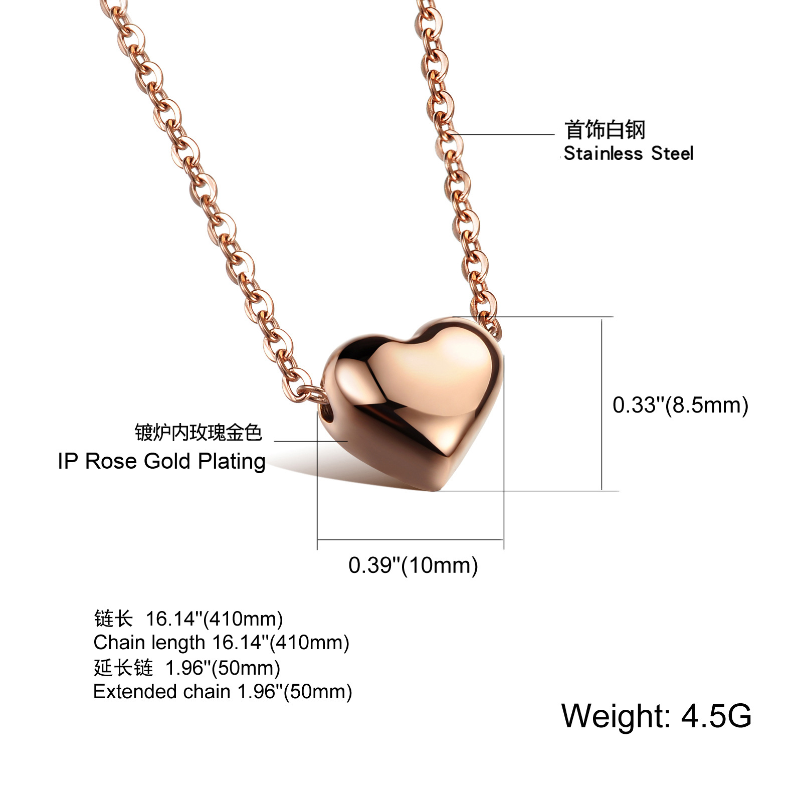 Fashion New Arrival Jewelry Simple Design Stainless Steel Heart Pendant Chain Necklace For Women