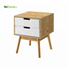 Wooden fancy nightstand bedside table with 2 drawers