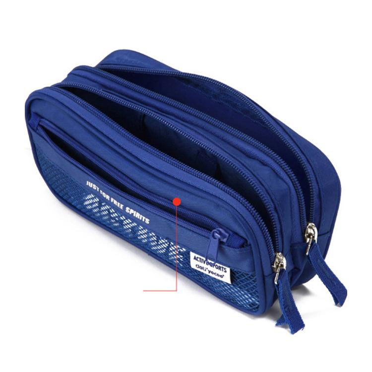 custom logo blue  Canvas Zipper Large capacity Pencil bag for students