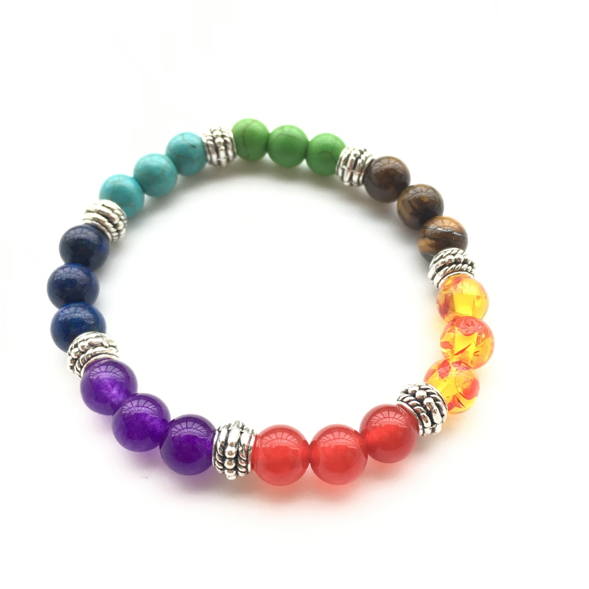 KD002 European and American fashion colored stone beaded bracelet retro simple stone alloy elastic bracelet for sale