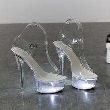 2020 г., светящаяся обувь на светильник Женские светящиеся прозрачные сандалии женская обувь на платформе Прозрачный каблук, прозрачная Свад...(Китай)