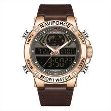 NAVIFORCE новые мужские часы, Лучшие Роскошные брендовые кожаные водонепроницаемые спортивные мужские часы, кварцевые аналоговые цифровые час...(Китай)