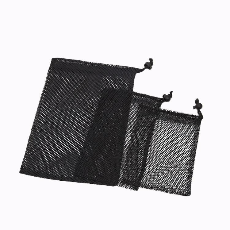 wholesale Customized polyester small black gifts mesh Bags with string