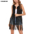 Women Fringe Vest Faux Suede Tassels Open-Front Sleeveless Vest Cardigan Ladies