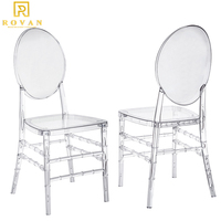 Rovan Furniture Crystal Clear Plastic Polycarbonate Tiffany Resin french louis chair Chiavari event rental acrylic ghost Chairs