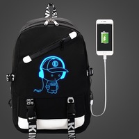 Luminous shoulder bag male fashion trend college Korean version backpack youth junior high school student bag