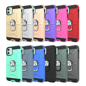 Wholesale TPU PC 2 in 1 Hard Shockproof Metal Ring Holder Magnet Mobile Cell Phone Case For iPhone 11 case
