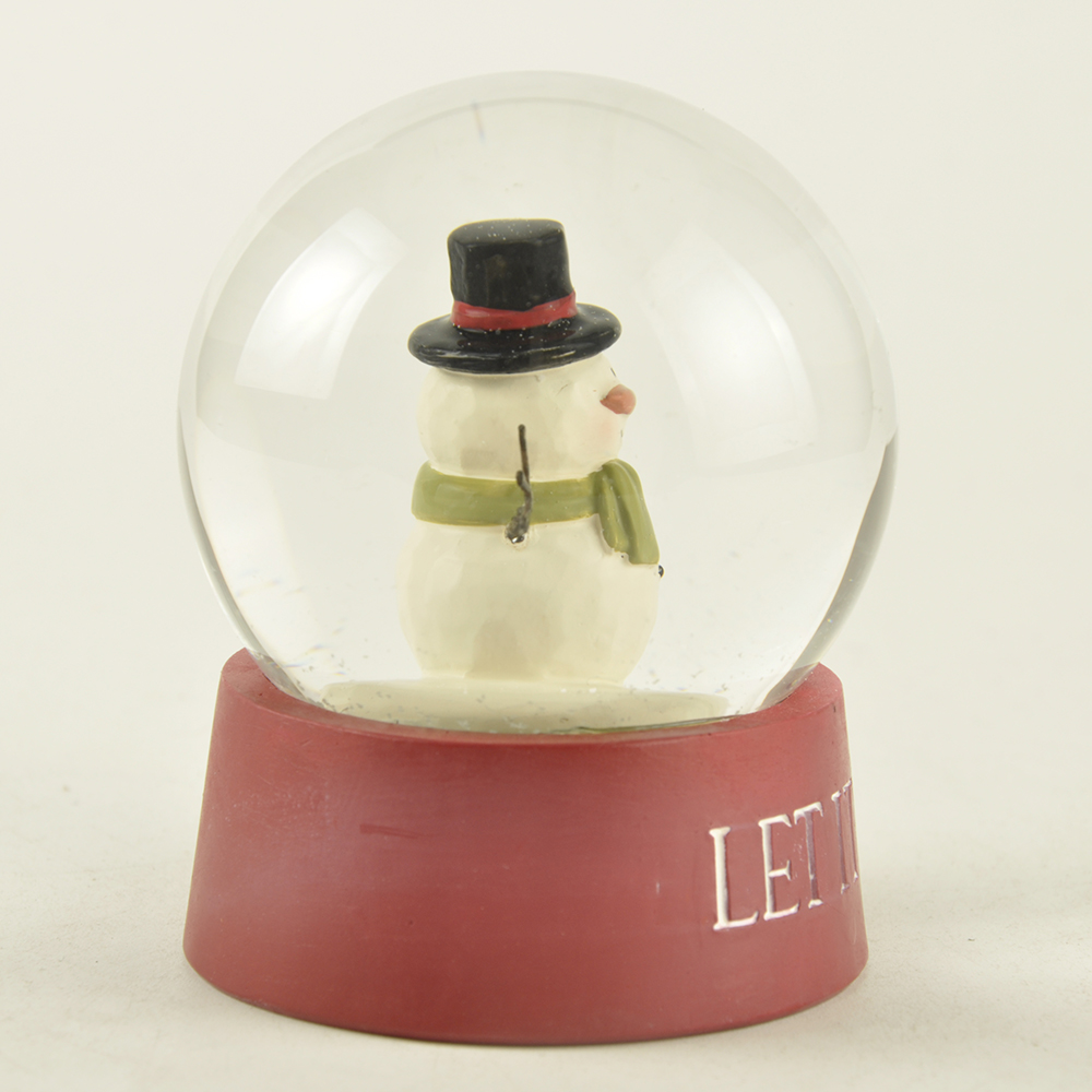 New Custom Design Personalized Cute Polyresin Snowman Snow globe Christmas water globe decor