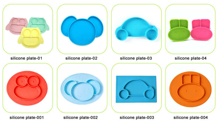 Food Grade silicone baby suction cup mat placemat one-piece silicone baby dinner plate and bowls