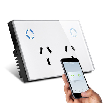Zoray 2 Gang Wifi Smart Touch Wall Socket Switch Remote Control Switches