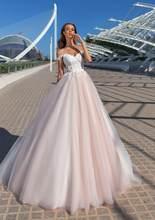 Гламурные Розовые Свадебные платья с аппликацией 2020, возлюбленные, с открытыми плечами, тюль, свадебные платья, корсет без рукавов, платье н...(China)