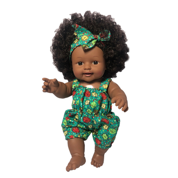 Hot sale alive reborn baby toy doll girl black skin African American dolls with afro hair and sounds