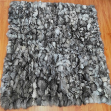 <span class=keywords><strong>Genuíno</strong></span> macio Patchwork 160x180cm 180x200cm real blue fox fur throw blanket