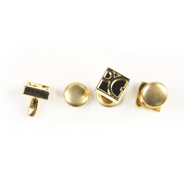 Nieuwe ontwerp aangepaste logo hot sales golden metal rivet vierkant legering dubbele side stud klinknagel knoppen