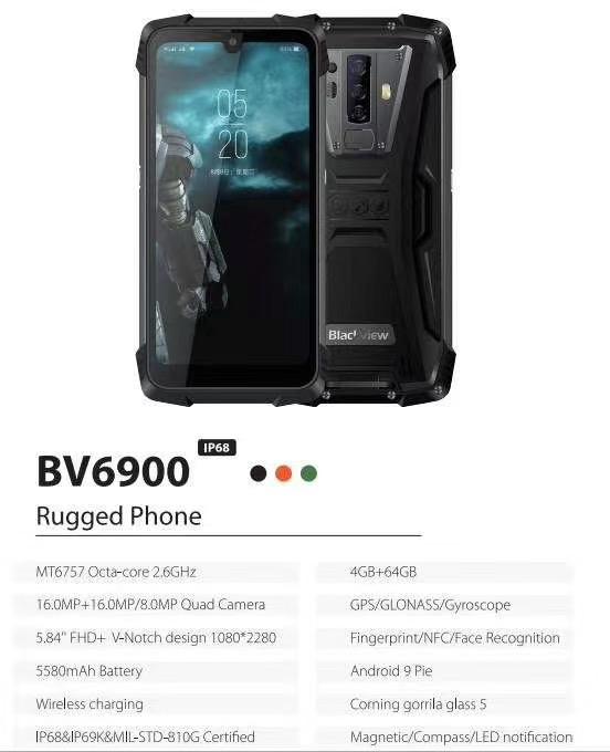 factory sale Blackview BV6900 5.84 inch 4GB RAM+64GB ROM 5580mAh Battery 16MP Rear Camera Smartphone