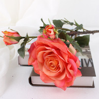 cheap wholesale 4 head branches artificial flower silk rose heads artificial flowers wedding in vases