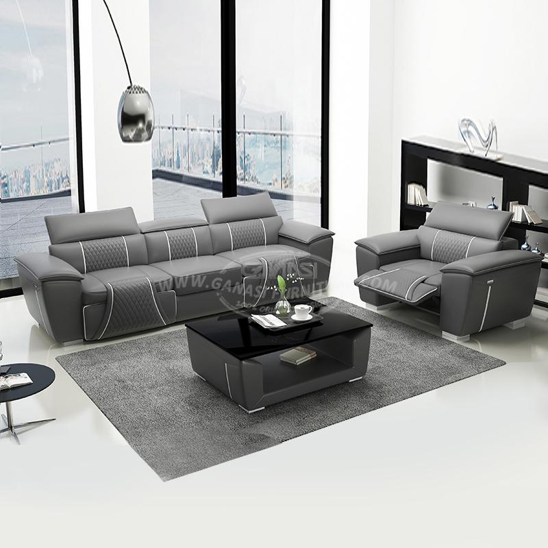 Modern Grey Leather Sofa Funiture