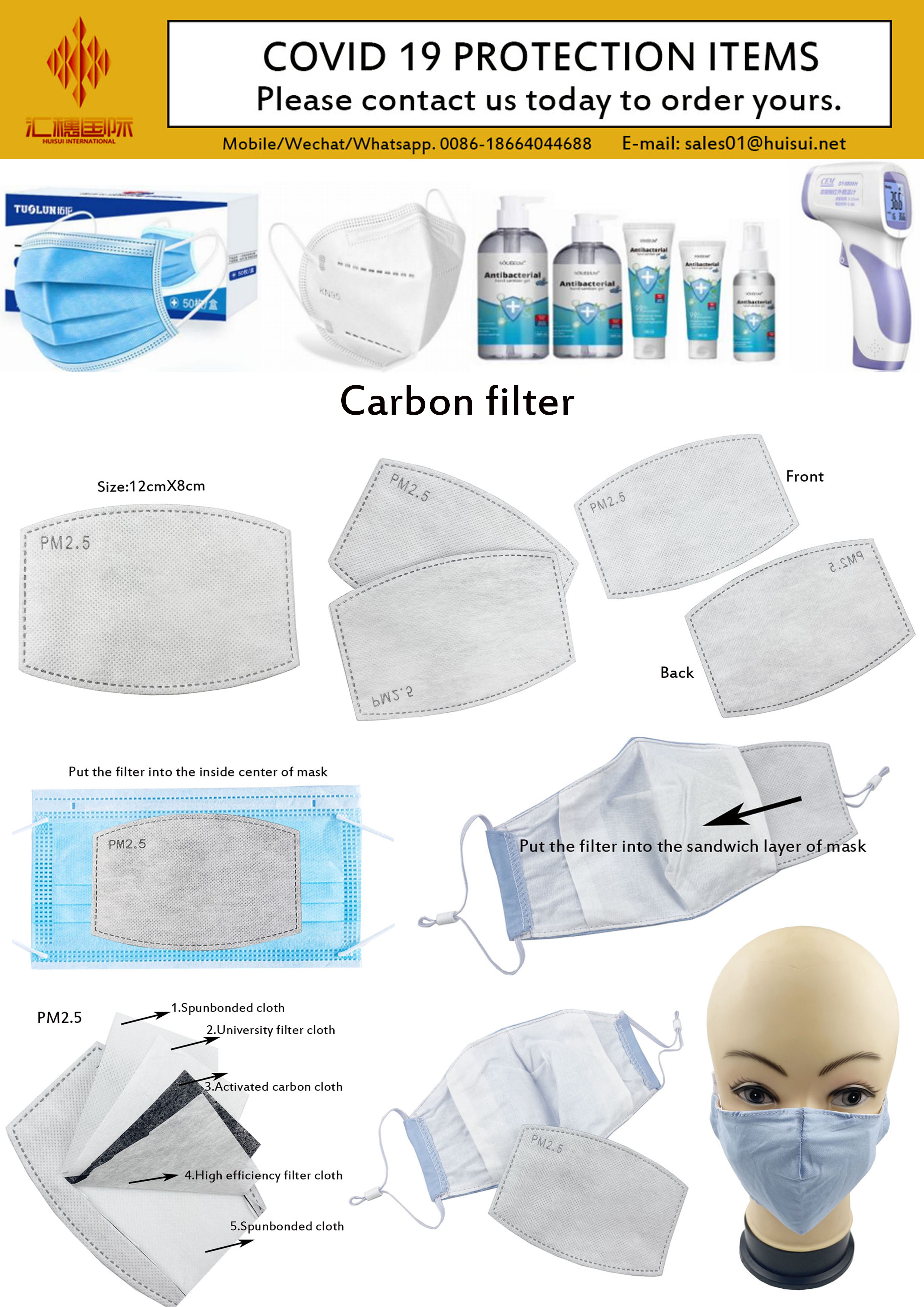Wholesale Pm2.5 Premium Replaceable Anti Haze Protective 5 Layers Activated Carbon Filter