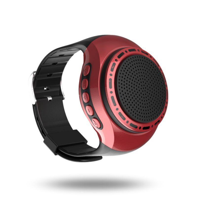 Wrist band wireless bluetooth speaker Sports Music Player wearable speaker Smart Watch (Red)