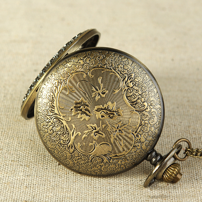 Hollow Out Vintage Watch Old English Grandfather style Simple Round Antique Bronze Round Pocket Watch Necklace Pendant