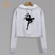 Балетная танцовщица мечта толстовки осень 2020 новый короткий стиль укороченные свитшоты Kawaii короткая толстовка модная женская укороченная ...(Китай)