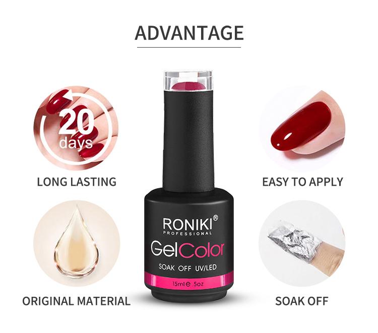 RONIKI оптовая продажа Китай гель для ногтей поставщик OEM бутылки частные этикетки цвета замочить от Led Лак для ногтей Цвет УФ гель лак для ногтей
