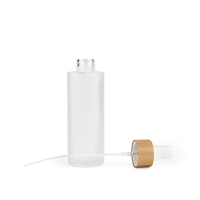 China Made frosted bamboo cap white glass bottles and glass jars cosmetic packaging sets 20ml 30ml 50ml 100ml 120ml