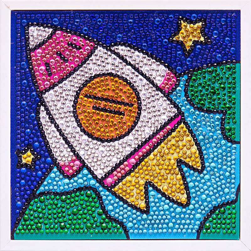 Full Drill Rhinestone Cartoon Rocket Picture Children's Handmade Toys Small Diamond Painting For Home Decoration
