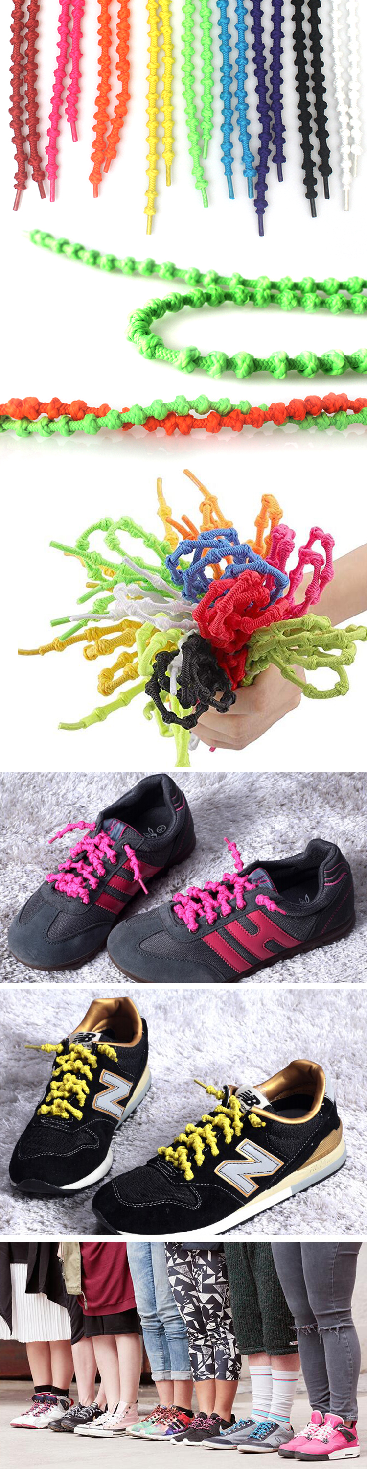 Lazy No Tie Black Elastic Knotted Shoelaces for Marathon